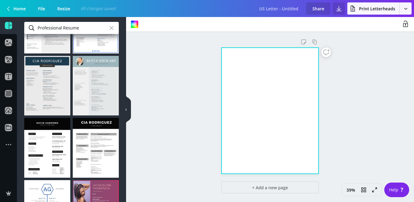 Sample of Canva's resume templates displayed on the platform's left-hand menu of the design screen.