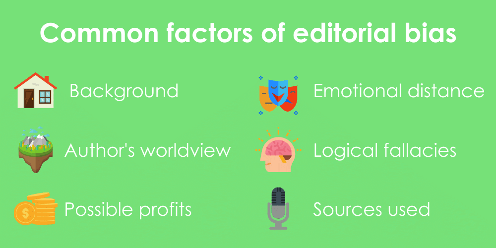 A small infographic highlighting 6 common factors in editorial bias.