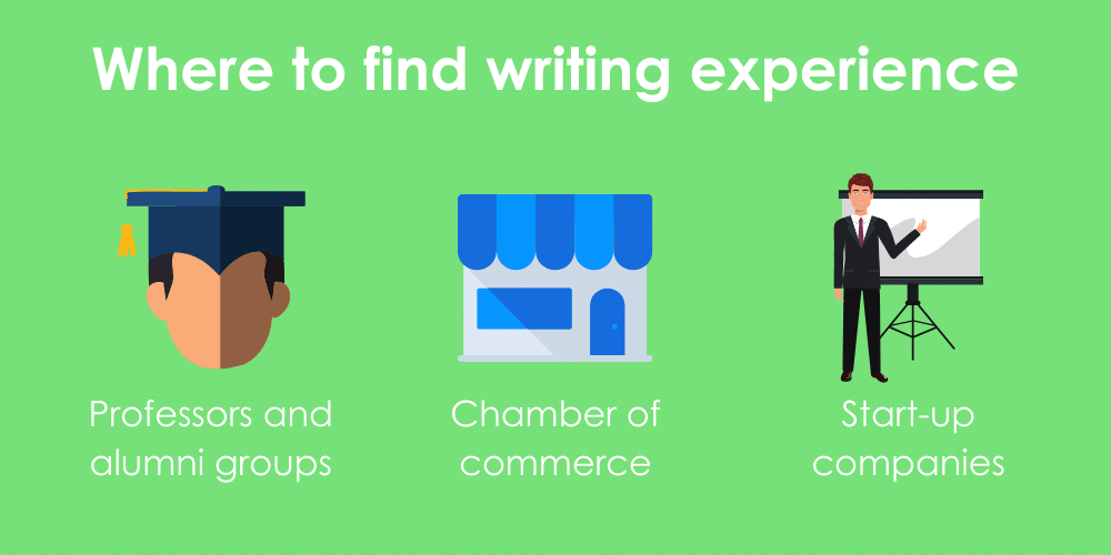 Infographic outlining 3 sources to find professional writing experience: through professors and alumni groups, the local chamber of commerce, and with start-up companies.