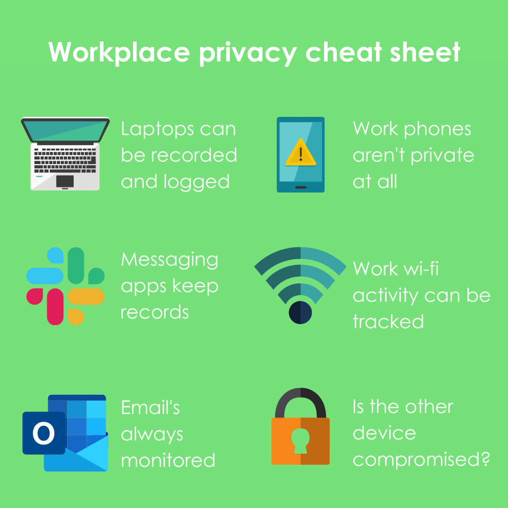 Infographic illustrating 8 key ways to prevent employers from recording employee messages at work.