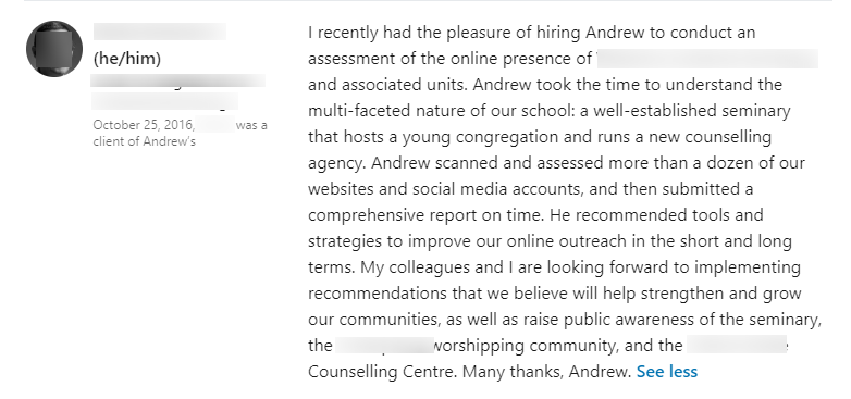 Real-life LinkedIn recommendation earned from performing a social media audit.