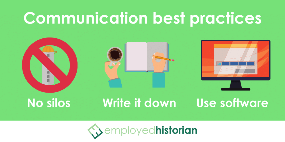 3 best practices to avoid the consequences of bad communication in the workplace: avoiding email silos, writing down everything, and using project management software.