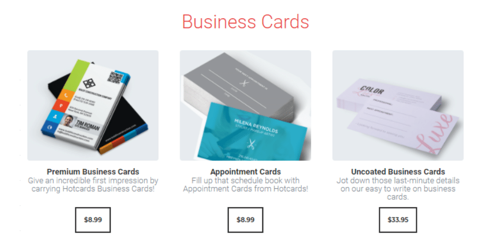 Hotcards' online storefront.
