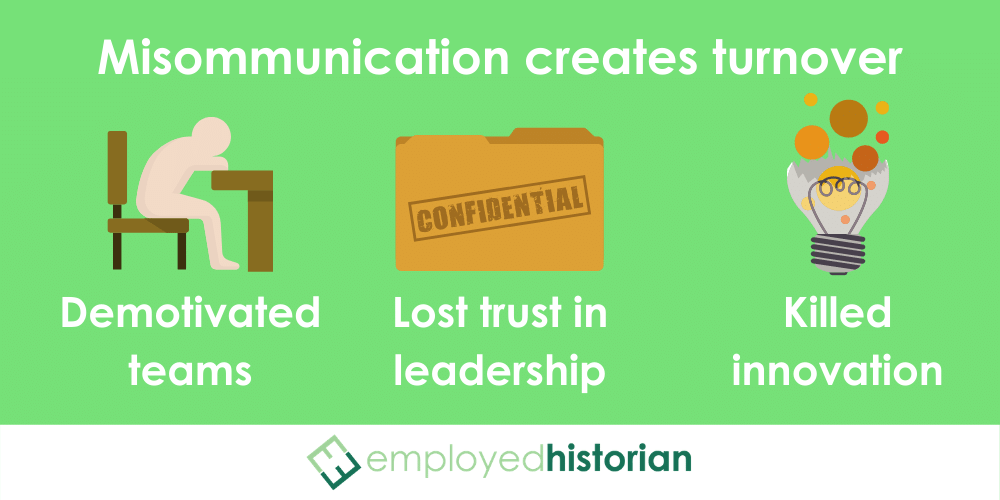 3 ways that bad communication in the workplace create employee turnover: apathetic employees, lost trust in leadership, and stifled innovation.