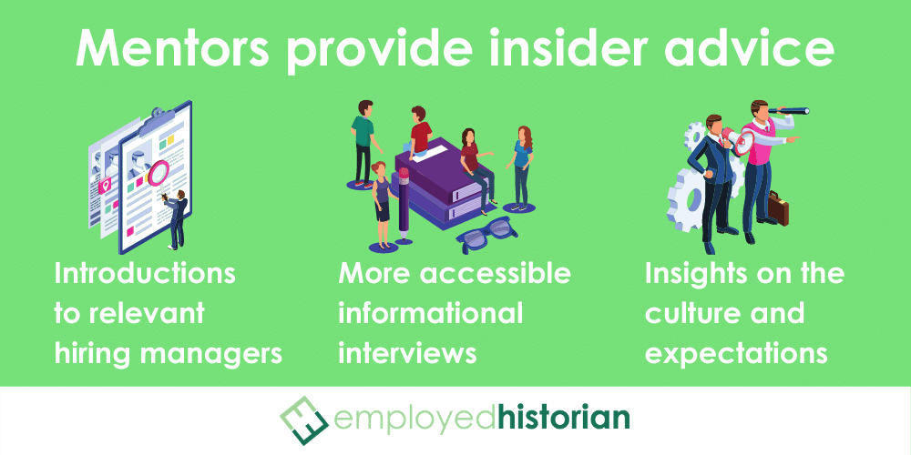 Small infographic highlighting 3 kinds of insider advice alumni mentors can provide for job searching.