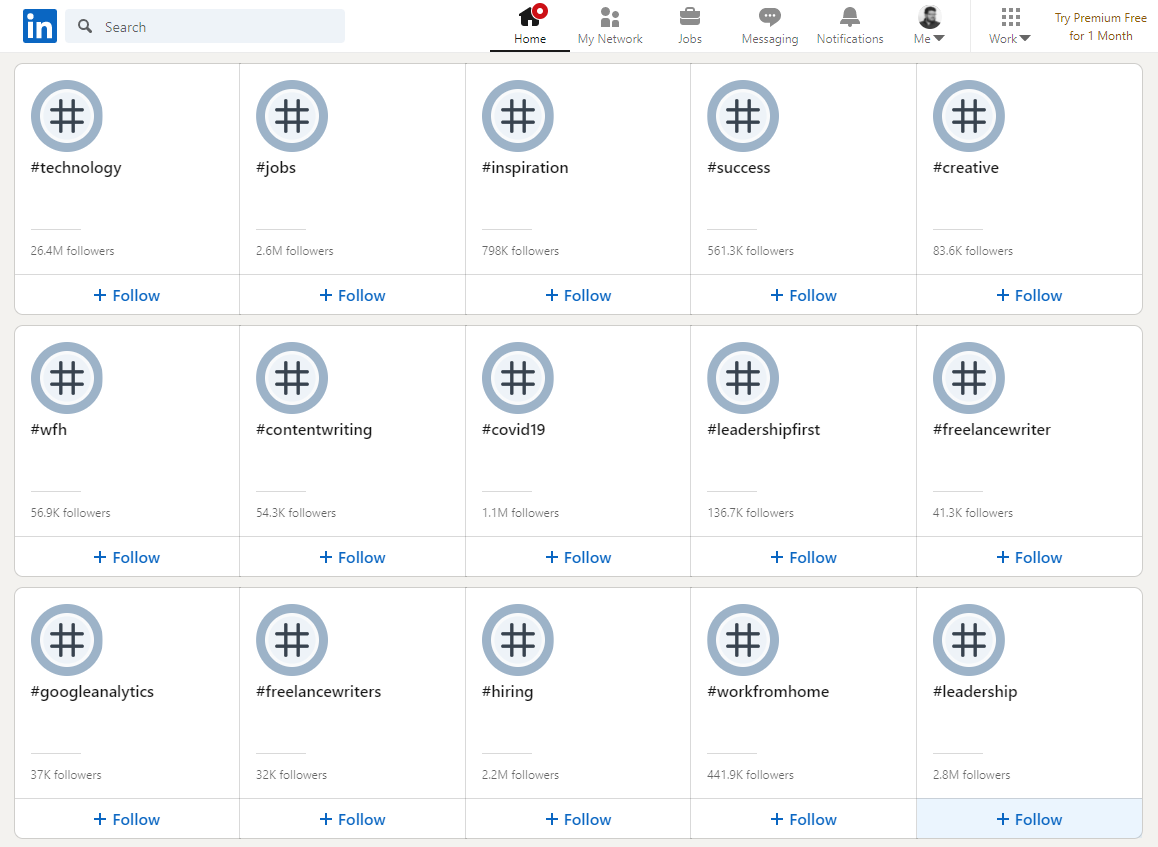 LinkedIn's hashtag discovery screen, with 15 suggestions visible.
