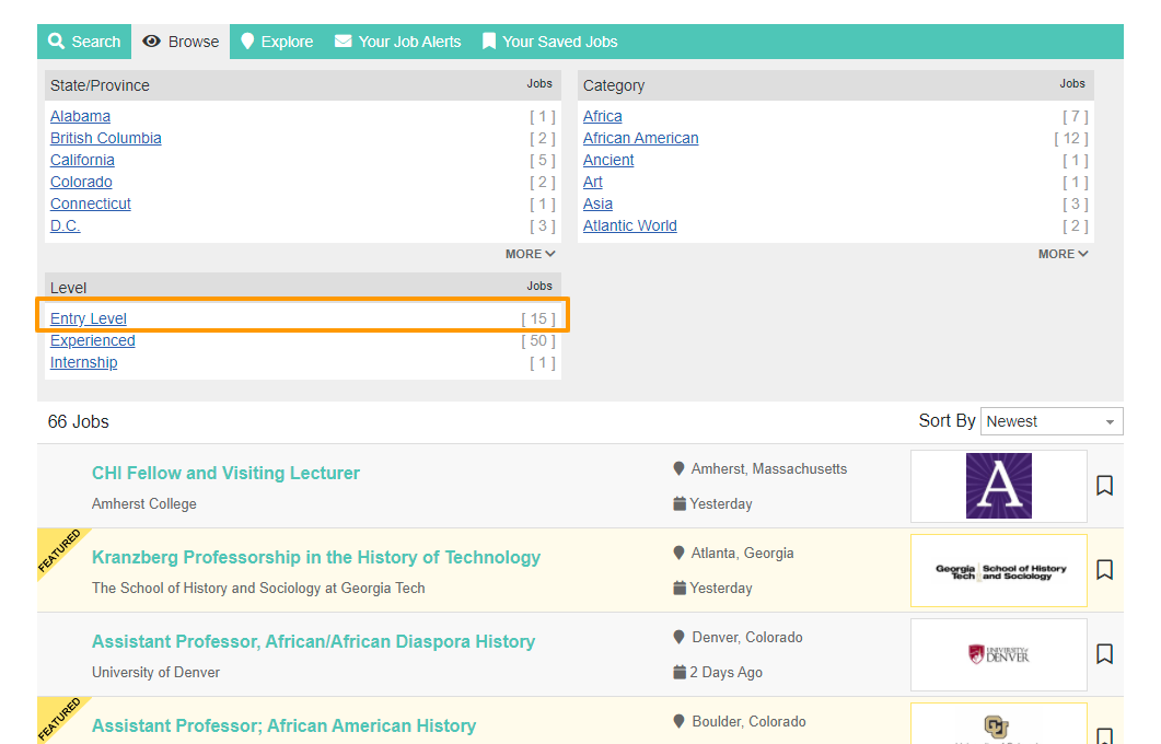 History writing jobs posted on American Historical Association website.