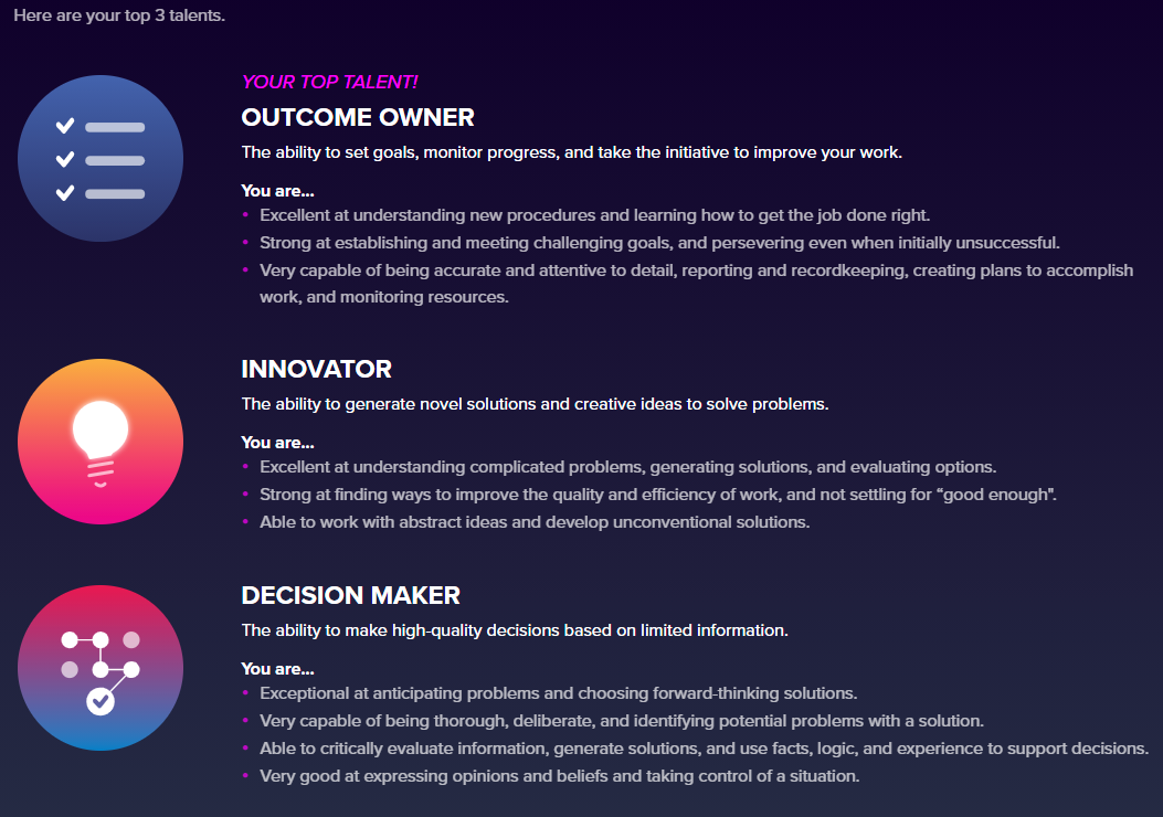 Screenshot of Plum.io's psychometric assessment results.