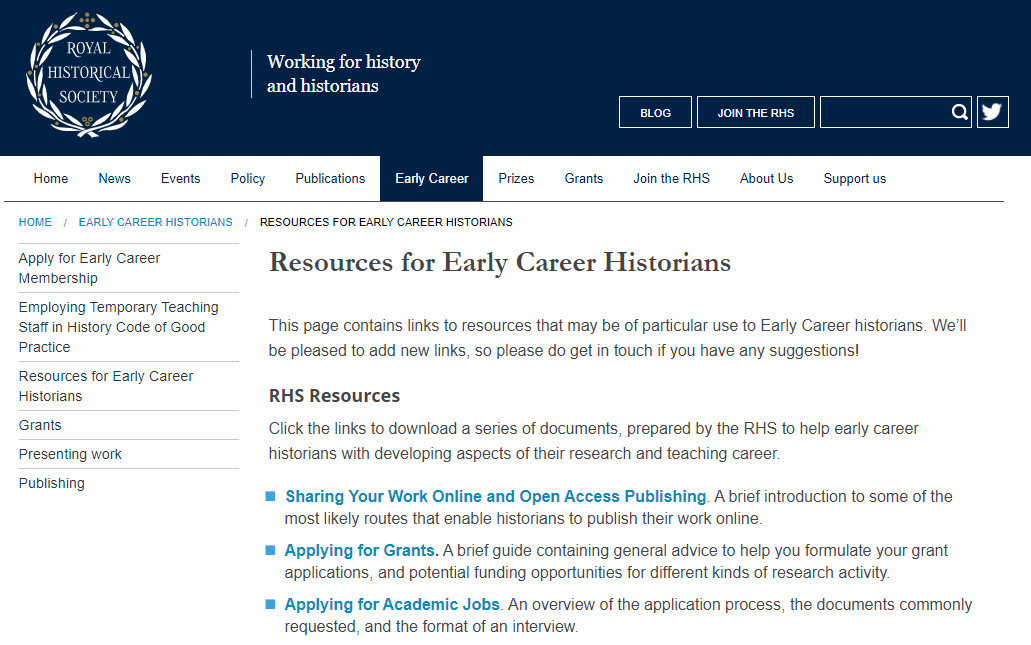 Advice for finding history writing jobs from the Royal Historical Society's website in the United Kingdom.