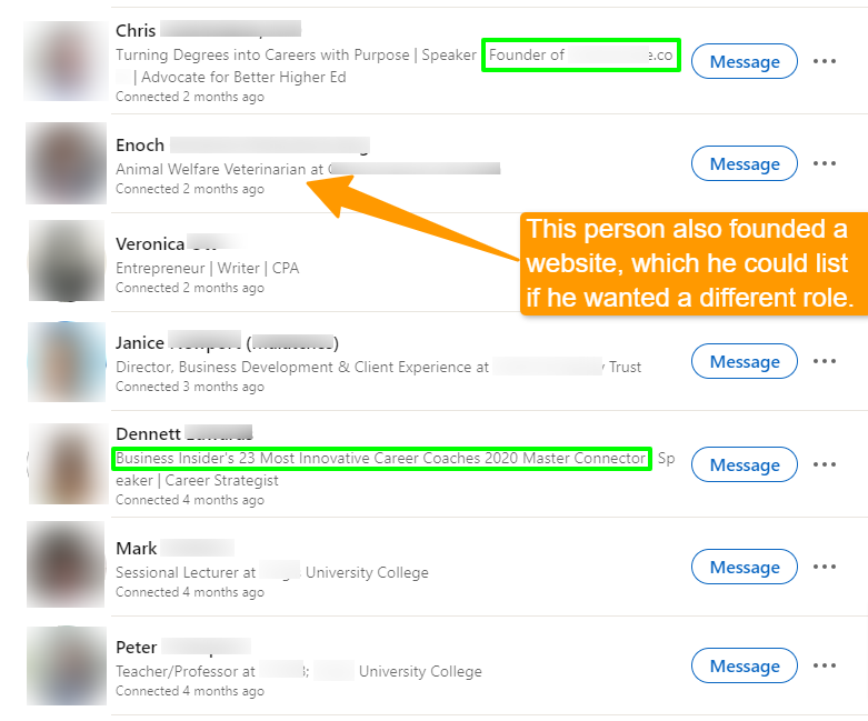 Screenshot of seven LinkedIn profiles with headlines being compared.