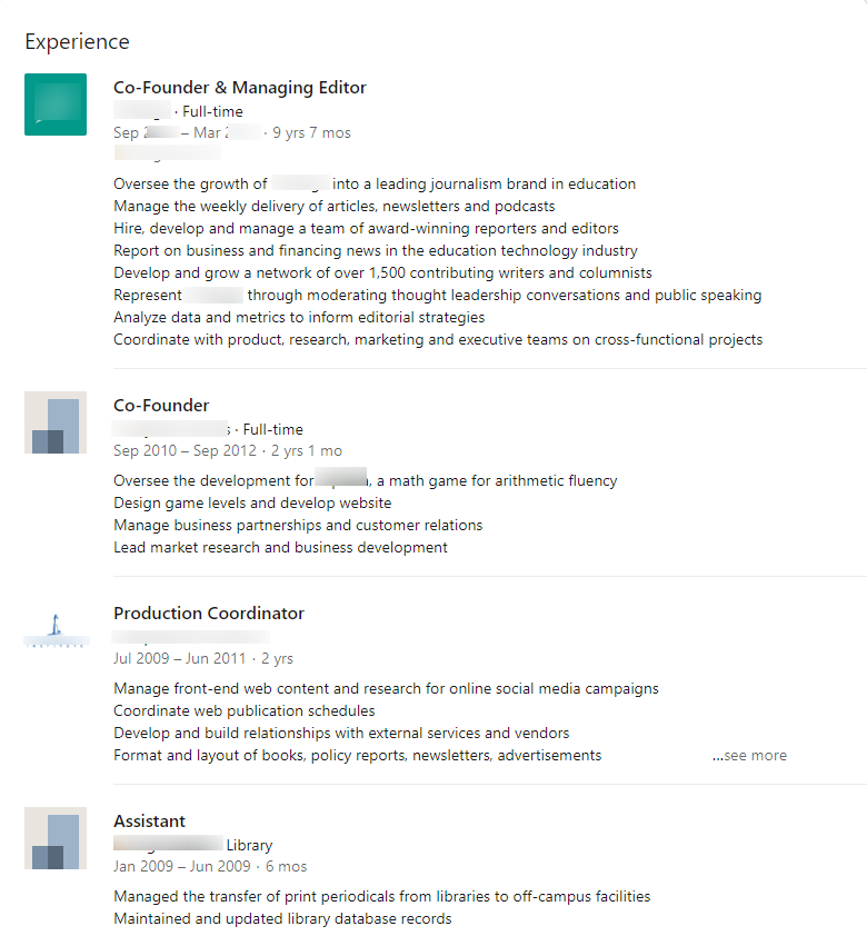 Screenshot of an average Experience section on a LinkedIn profile.