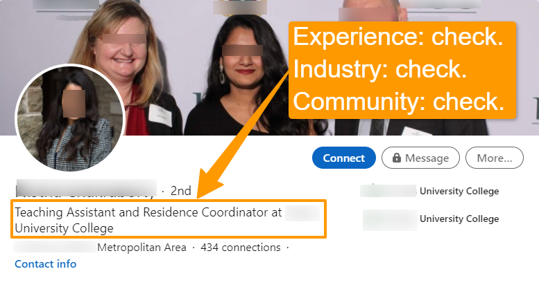 Example of a student's effective LinkedIn headline.