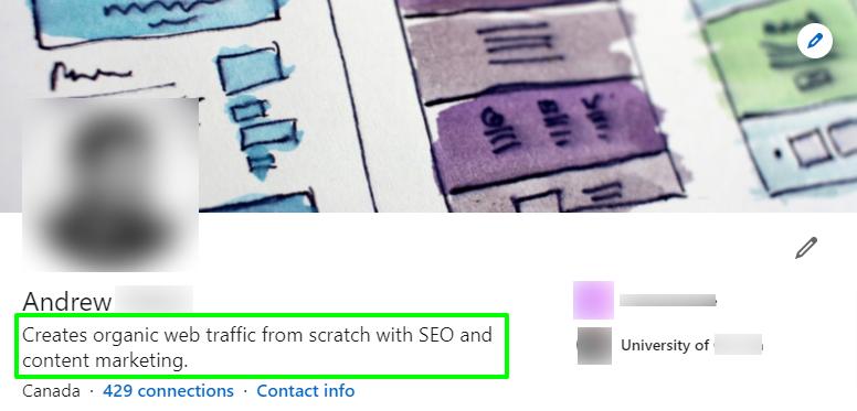 Screenshot of an effective LinkedIn headline for a young established professional.