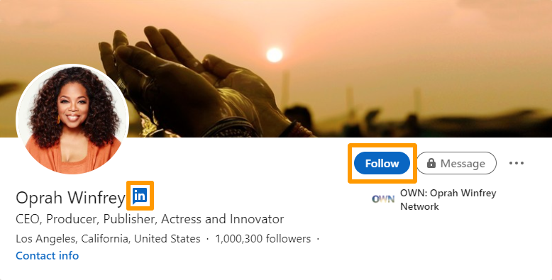 """Screenshot of a LinkedIn influencer's profile with the """"influencer"""" icon and """"follow"""" button highlighted."""