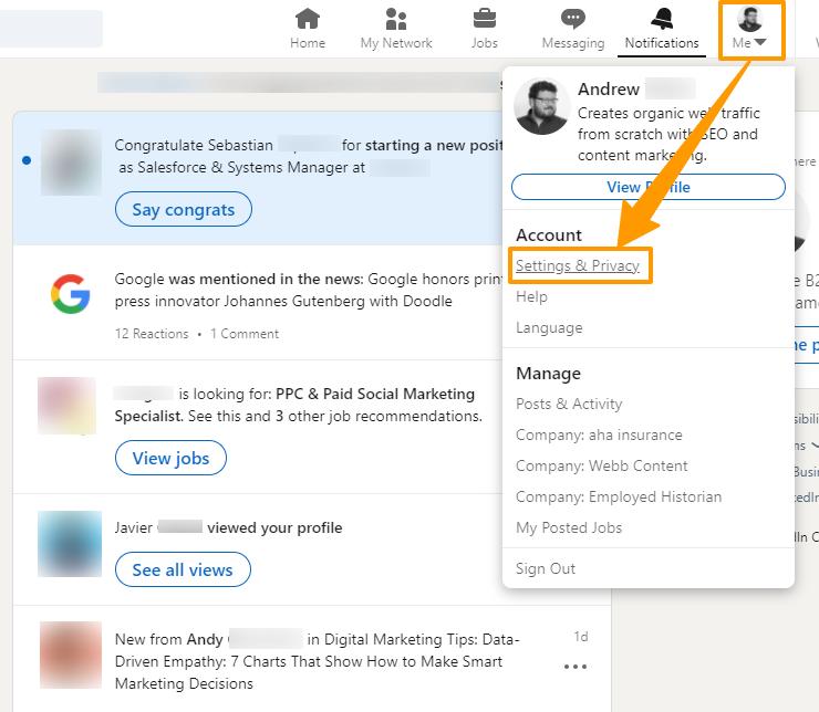 Screenshot of how to access the LinkedIn settings menu.