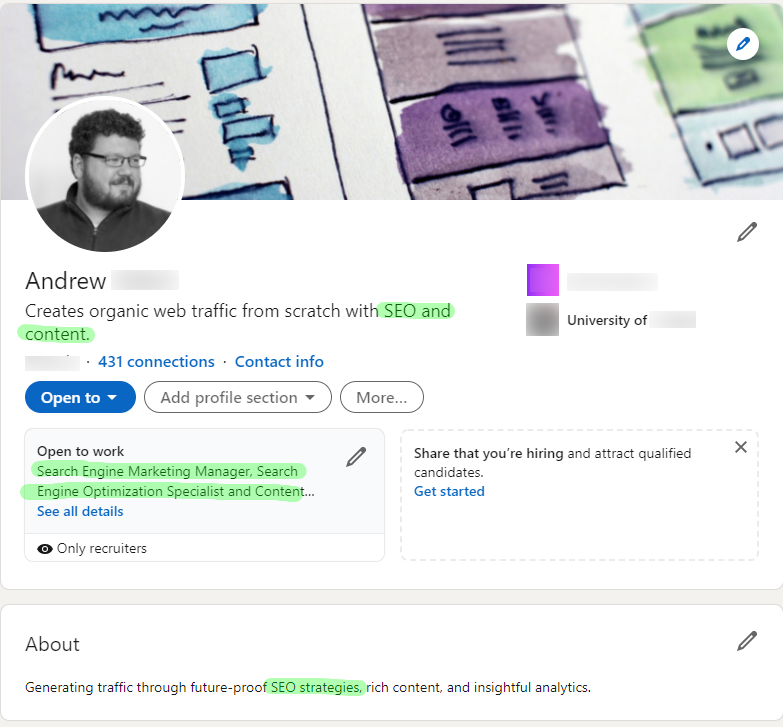 Example of a LinkedIn profile with a header section that's properly optimized for a keyword.