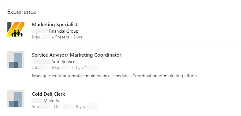Screenshot of a LinkedIn Experience section that needs a makeover.