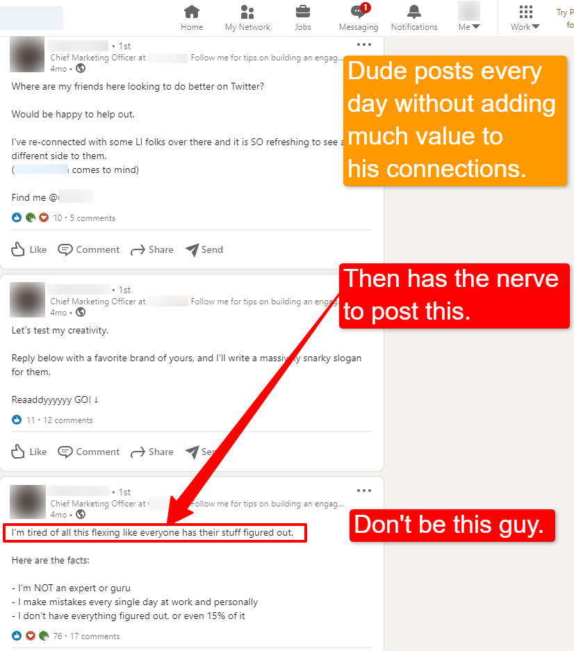 Screenshot of a low-value, self-promoting connection on LinkedIn.