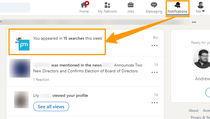 Screenshot of how many times you appeared in LinkedIn recruiter searches in a week.