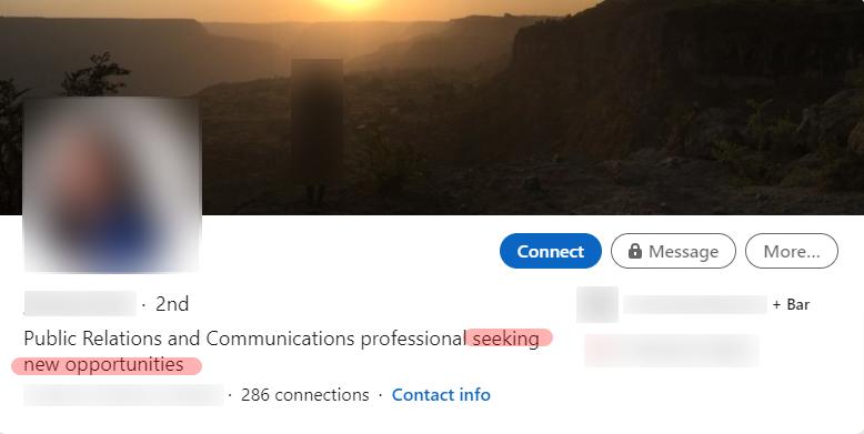 Screenshot of an anonymous student LinkedIn headline that needs work.