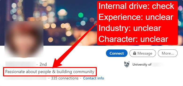 Screenshot of an anonymous student's ineffective LinkedIn headline.
