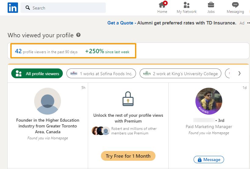 Screenshot showing a 250% boost in weekly LinkedIn profile views.