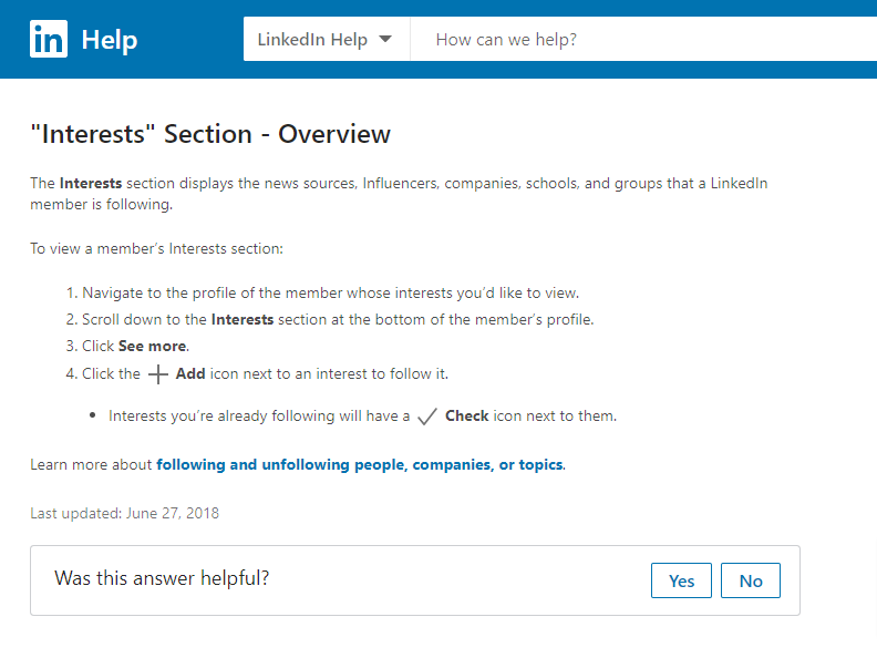 Screenshot of the official help documentation on adding interests to a profile on LinkedIn.
