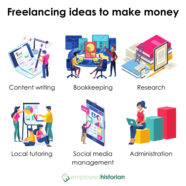 6 illustrated freelance jobs to make more money after college.