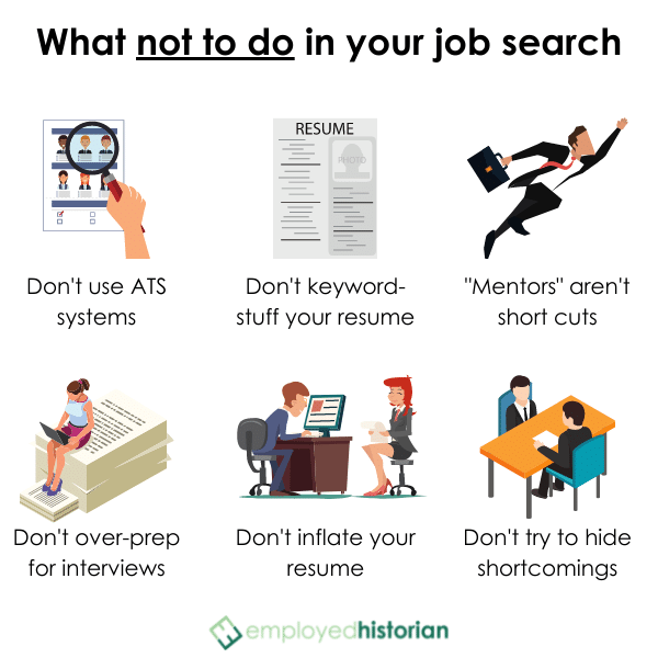 6 illustrated examples of how not to land your first job after college.